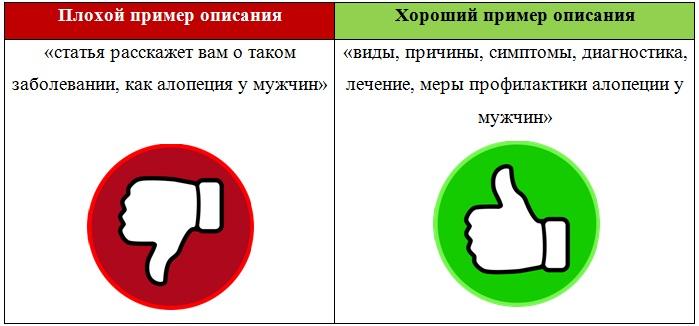 сравнение двух описаний